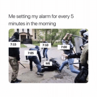 Funny, Alarm, and Mad: Me setting my alarm for every 5  minutes in the morning  7:15  7:10  7:00  7:05  ME Mad annoying. ⏰😂