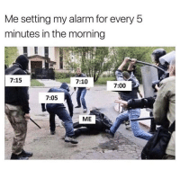 Memes, Mondays, and Alarm: Me setting my alarm for every 5  minutes in the morning  7:15  7:10  7:00  7:05  ME Mondays...😂