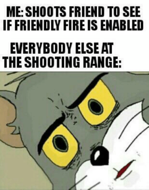 I hope these are still legal. via /r/memes https://ift.tt/2Fkn4nP: ME: SHOOTS FRIEND TO SEE  IF FRIENDLY FIRE IS ENABLED  EVERYBODY ELSE AT  THE SHOOTING RANGE: I hope these are still legal. via /r/memes https://ift.tt/2Fkn4nP