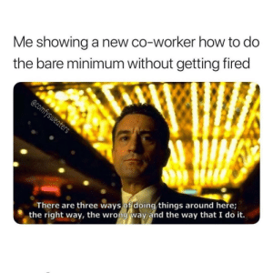 Follow us @studentlifeproblems​: Me showing a new co-worker how to do  the bare minimum without getting fired  There are three ways of doing things around here;  the right way, the wrong way and the way that I do it. Follow us @studentlifeproblems​