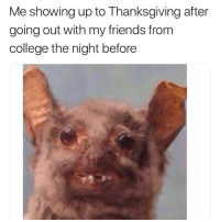 College, Crush, and Friends: Me showing up to Thanksgiving after  going out with my friends from  college the night before just saw my crush on @tinder u i am shook tinderpartner