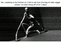 "Funny, Memes, and Http: Me, sneaking to the kitchen at 2 AM to eat from the bag of stale veggie  straws l've been living off of for 3 days <p>Memes like this a pretty versatile and I think they&rsquo;re funny. Invest? via /r/MemeEconomy <a href=""http://ift.tt/2IciI2C"">http://ift.tt/2IciI2C</a></p>"