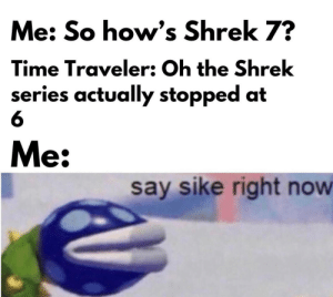 Making memes on an iPhone is hard: Me: So how's Shrek 7?  Time Traveler: Oh the Shrek  series actually stopped at  Me:  say sike right now Making memes on an iPhone is hard