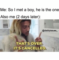 Blog, Link, and Sugar: Me: So l met a boy, he is the one  Also me (2 days later):  @daddyissues_  THAT'S OVER  IT'S CANCELLED 40 SIGNS HE'S JUST NOT THAT INTO YOU blog is up! LINK IN BIO ☝🏼go read it! You need it sugar thighs.