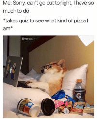 I get my memes from @comedykhazi 😂: Me: Sorry, can't go out tonight, l have so  much to do  *takes quiz to see what kind of pizza I  am  CCOMEDYKHALI I get my memes from @comedykhazi 😂
