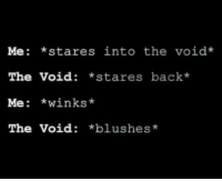 Me: *stares into the void  The Void  *stares back*  Me  winks*  The Void  *blushes