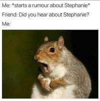 Funny, Who, and Friend: Me: *starts a rumour about Stephanie*  Friend: Did you hear about Stephanie?  Me: She slept with WHO?! NO WAY!