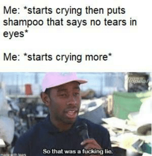 """Ass, Bad, and Crying: Me: *starts crying then puts  shampoo that says no tears in  eyes*  Me: """"starts crying more*  ass  Dopear  So that was a fucking lie.  medo wh ears It's bad, I know"""