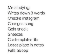 Instagram, Life, and Song: Me studying:  Writes down 3 words  Checks instagram  Changes song  Gets snack  Sneezes  Contemplates life  Loses place in notes  Falls asleep