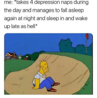 """Fall, Depression, and Hell: me: """"takes 4 depression naps during  the day and manages to fall asleep  again at night and sleep in and wake  up late as hell* Basically. 😂 😢"""