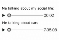 Pretty much. Car memes: Me talking about my social life:  00:02  Me talking about cars:  7:35:08 Pretty much. Car memes
