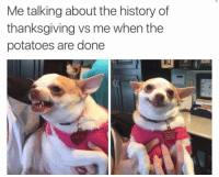 Thanksgiving, History, and Lily: Me talking about the history of  thanksgiving vs me when the  potatoes are done  LILY LU