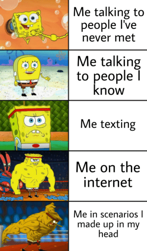 Head, Internet, and Texting: Me talking to  people I've  never met  Me talking  to people  know  Me texting  C  Me on the  internet  Me in scenarios l  made up in my  head Social Interaction 0