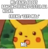 When your friend has a hot sister: ME TALKS ABOUT  BANGING FRIENDS SISTERALL  NIGHT  FRIEND GETSMA  ME  imgflip.com When your friend has a hot sister