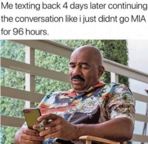 Meirl: Me texting back 4 days later continuing  the conversation like i just didnt go MIA  for 96 hours. Meirl