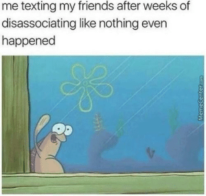 2meirl4meirl: me texting my friends after weeks of  disassociating like nothing even  happened 2meirl4meirl
