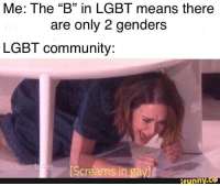 "Lol: Me: The ""B"" in LGBT means there  are only 2 genders  LGBT community:  Screamsi  funny.Ce Lol"