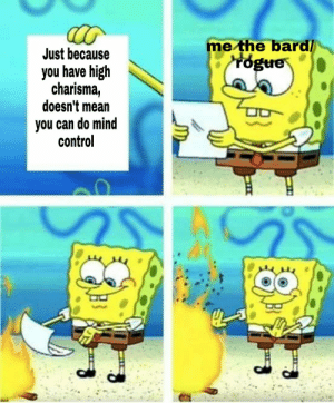 Self call-out post: me the bard/  rogue  Just because  you have high  charisma,  doesn't mean  you can do mind  control Self call-out post