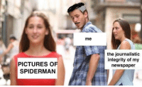 pictures-of-spiderman: me  the journalistic  integrity of my  newspaper  PICTURES OF  SPIDERMAN