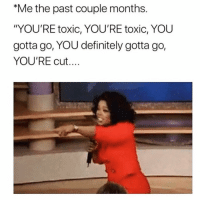 "Af, Definitely, and Funny: Me the past couple months.  ""YOU'RE toxic, YOU'RE toxic, YOU  gotta go, YOU definitely gotta go,  YOU'RE cut.... Same af @singlewomanprobs gotta drain the swamp😅🤣"