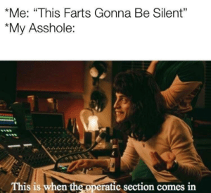 "Dank Memes, Asshole, and Easy: *Me: ""This Farts Gonna Be Silent""  My Asshole:  This is when the operatic section comes in Easy come, easy go"