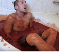 This guy got into a bath of hot sauce and immediately regretted it.: Me This guy got into a bath of hot sauce and immediately regretted it.