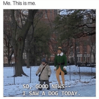 Best news you can ever get.: Me. This is me.  SOGOOD NEWS  L SAW A DOG TODAY Best news you can ever get.