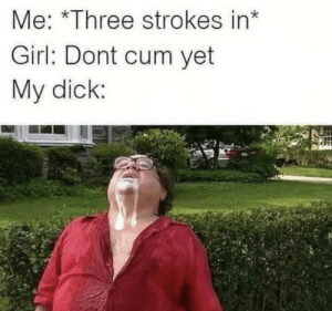 Graphic: Me: *Three strokes in*  Girl: Dont cum yet  My dick: Graphic