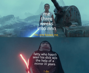 Kylo is W I D E: me  three  weeks  into nnn  TEA5ER PR  No one knows me.  fatty who hasn't  seen his dick w/o  the help of a  mirror in years  I do. Kylo is W I D E