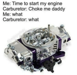 Time, Engine, and Carburetor: Me: Time to start my engine  Carburetor: Choke me daddy  Me: what  Carburetor: what Glad to know it enjoys it