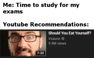 Thanks youtube, very cool.: Me: Time to study for my  exams  Youtube Recommendations:  Should You Eat Yourself?  Vsauce  9.9M views  7:32 Thanks youtube, very cool.