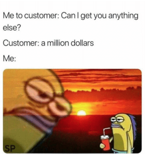 Hilarious. by syua99 MORE MEMES: Me to customer: Can I get you anything  else?  Customer: a million dollars  Me:  SP Hilarious. by syua99 MORE MEMES