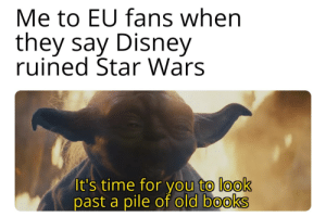 A title: Me to EU fans when  they say Disney  ruined Star Wars  It's time for you to look  past a pile of old books A title