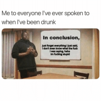 Drunk, Fucking, and Fuck: Me to everyone I've ever spoken to  when l've been drunk  In conclusion,  Just forget everything I Just sald,  I don't even know what the fuck  I was saying, haha  Im fucking stupld I don't know her