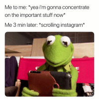 """Instagram, Stuff, and Dank Memes: Me to me: """"yea i'm gonna concentrate  on the important stuff now*  Me 3 min later: *scrolling instagram* I Try Hard. 😅😅"""