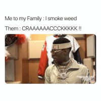 this is my family frfr 😂: Me to my Family: I smoke weed  Them : CRAAAAAACCCKKKKK!  CI  BREAKE this is my family frfr 😂