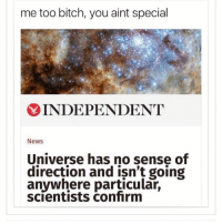 Smh. Get in line, universe. Follow me @teengirlclub for the most relatable memes 🙌🏼: me too bitch, you aint special  INDEPENDENT  News  Universe has no sense of  direction and isn't going  anywhere particular,  scientists confirm Smh. Get in line, universe. Follow me @teengirlclub for the most relatable memes 🙌🏼