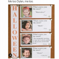 """Memes, Death, and Sharks: Me too Dylan, me to0  What scares you  the most:  Werewolves!""""  -Paul  What scares you  the most?  Sharks""""  Nina  What scares you  the most?  The unstoppable marching  of time that is slowly guiding  us all towards an inevitable  death.""""  Dylan  What scares you  the most?  Ghosts!""""  Catherine @epicfunnypage is literally the funniest page 👌🏻👌🏻"""