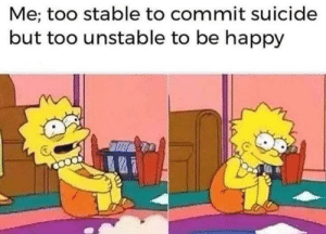 me irl: Me; too stable to commit suicide  but too unstable to be happy me irl
