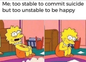 Happy, Suicide, and Be Happy: Me; too stable to commit suicide  but too unstable to be happy The imperfect balance