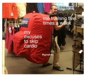 Me training five times a week vs my excuses to skip cardio.  Gymaholic App: https://www.gymaholic.co  #fitness #meme #motivation #workout #gymaholic: me training five  times a week  my  excuses  to skip  cardio  @gymaholic Me training five times a week vs my excuses to skip cardio.  Gymaholic App: https://www.gymaholic.co  #fitness #meme #motivation #workout #gymaholic