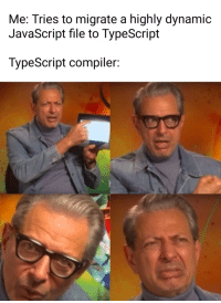 Javascript, What, and Compiler: Me: Tries to migrate a highly dynamic  JavaScript file to TypeScript  TypeScript compiler: What?!1?