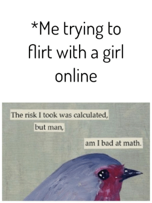 Everytime: *Me trying to  Airt with a girl  online  The risk I took was calculated,  but  man,  am I bad at math. Everytime
