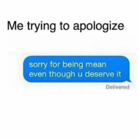 Sorry, Mean, and Girl Memes: Me trying to apologize  sorry for being mean  even though u deserve it  Delivered Sorry that you're the way you are