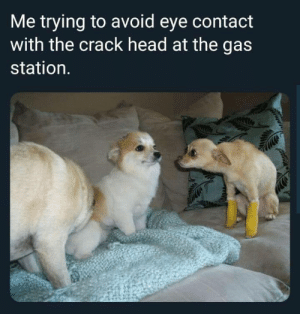 Head, Gas Station, and Eye: Me trying to avoid eye contact  with the crack head at the gas  station. Avoid