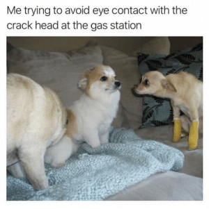 Head, Gas Station, and MeIRL: Me trying to avoid eye contact with the  crack head at the gas station Meirl