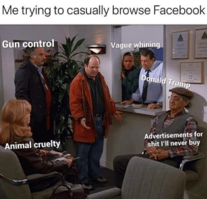 Donald Trump, Facebook, and Shit: Me trying to casually browse Facebook  SEora  Gun control  Vague whining  Donald Trump  Advertisements for  shit l'll never buy  Animal cruelty Who even uses Facebook