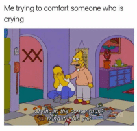 Crying, Who, and The Corner: Me trying to comfort someone who is  crying  xX  Crvinl in the corner shuh