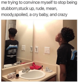 moody: me trying to convince myself to stop being  stubborn,stuck up, rude, mean,  moody,spoiled, a cry baby, and crazy