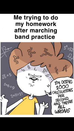 Funny, True, and Homework: Me trying to do  my homework  after marching  band practice  8-52  5=5  5+6-9  Im DOING  1000  CALCULATIONS  PER  SECOND  AND THEYRE  ALL  WRONG  2x11-27 It's funny because it's true